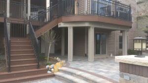 Composite deck with detailed stairs and railings