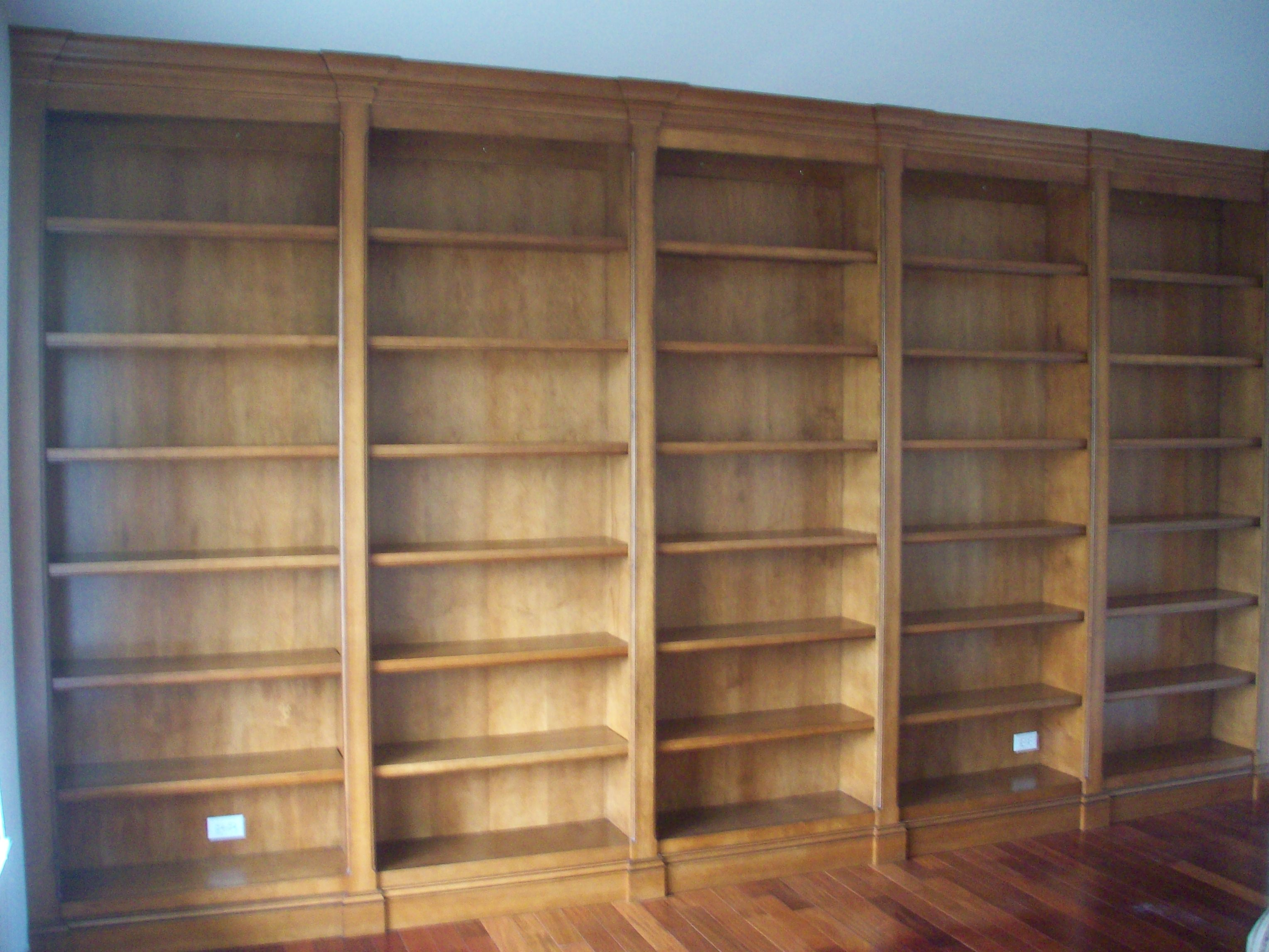 Floor To Ceiling Maple Bookcase With Walnut Glaze